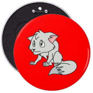 Crying Gray Young Wolf Pup Mug Bag Button Pin