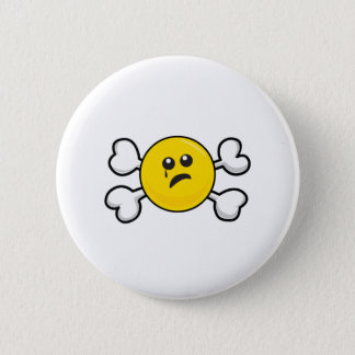 crying smiley Skull and Crossbones 2 Inch Round Button