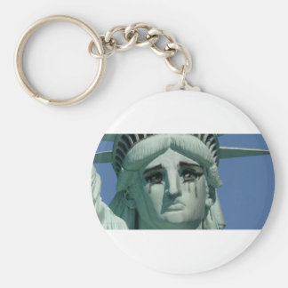 Crying Statue of Liberty Basic Round Button Keychain