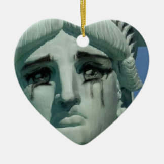 Crying Statue of Liberty Ceramic Heart Ornament