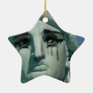 Crying Statue of Liberty Ceramic Star Ornament