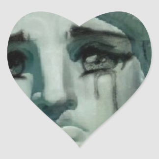 Crying Statue of Liberty Heart Sticker