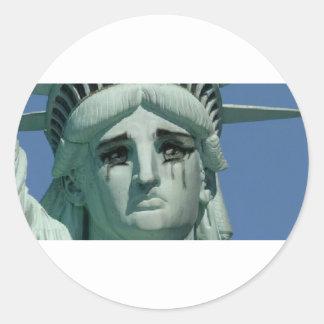 Crying Statue of Liberty Round Sticker