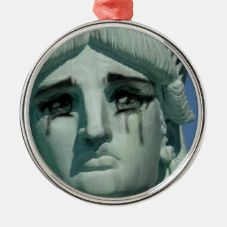 Crying Statue of Liberty Silver-Colored Round Ornament