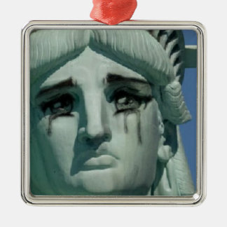 Crying Statue of Liberty Silver-Colored Square Ornament