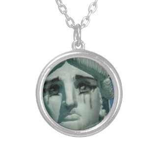 Crying Statue of Liberty Silver Plated Necklace
