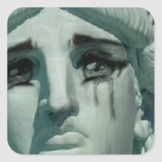 Crying Statue of Liberty Square Sticker