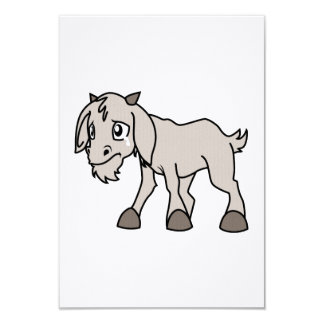 Crying Weeping Grey Young Goat Kid Animal Rights D 3.5x5 Paper Invitation Card