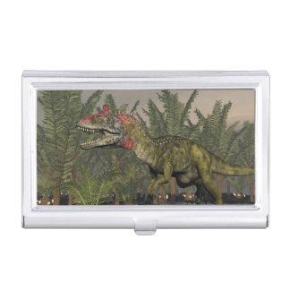 Cryolophosaurus dinosaur - 3D render Business Card Holder