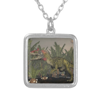 Cryolophosaurus dinosaur - 3D render Silver Plated Necklace