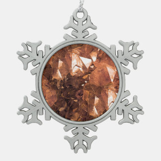 Crystal Amber Snowflake Pewter Christmas Ornament
