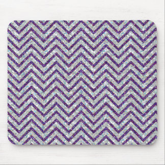 Crystal and violet chevron glitter effect mousepad