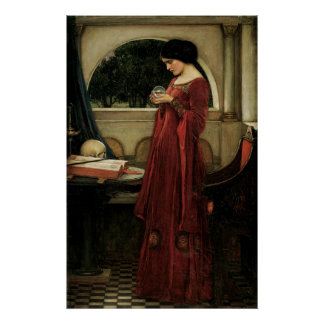 Crystal Ball by Waterhouse, Vintage Victorian Art Poster