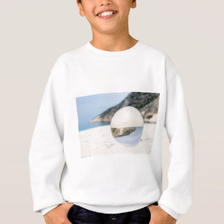 Crystal ball on sandy greek beach sweatshirt