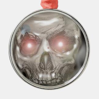 Crystal ball skull metal ornament