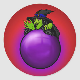 Crystal Ball Witch Red Gradient Classic Round Sticker