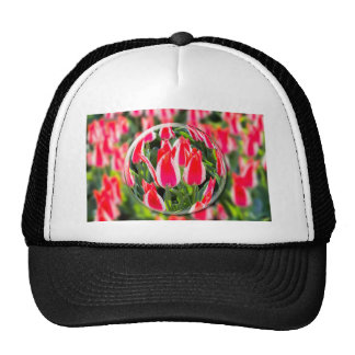 Crystal ball with red-white tulips in field trucker hat