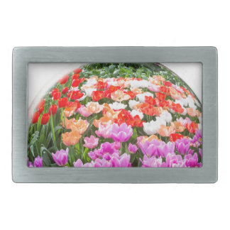 Crystal ball with various colored tulips on white belt buckles