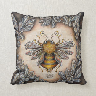 Crystal bee throw pillow