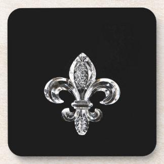 Crystal Black Fleur de lis Coaster