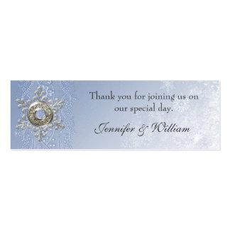 Crystal Blue Custom Winter Wedding Favor Tags Mini Business Card