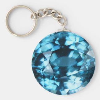 Crystal Blue Gemstone Zircon December Birthstone Keychain