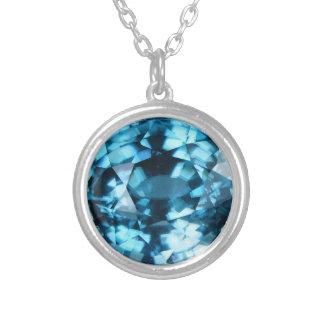 Crystal Blue Gemstone Zircon December Birthstone Silver Plated Necklace