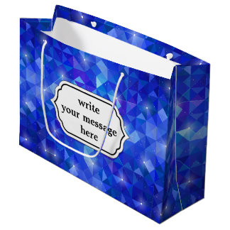 Crystal Blue polygonal constellation Large Gift Bag