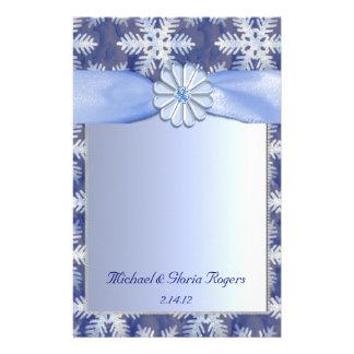 Crystal Blue Snowflake Celebration Customized Stationery
