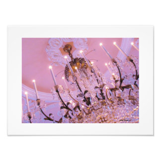 Crystal Chandelier on Pink Ceiling Print