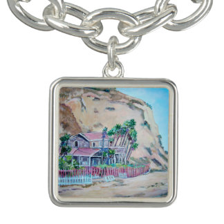Crystal Cove -Square Charm Bracelet, Silver Plated