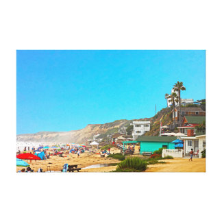 Crystal Cove Unbrellas And Cottages Canvas Print