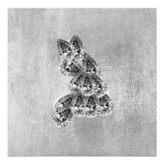 Crystal Diamond Cat Gray Silver Gray Grungy Poster