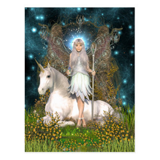 Crystal Fairy and Unicorn Postcard