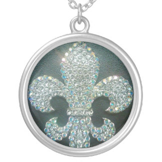 Crystal Fleur de lis on Black print Silver Plated Necklace