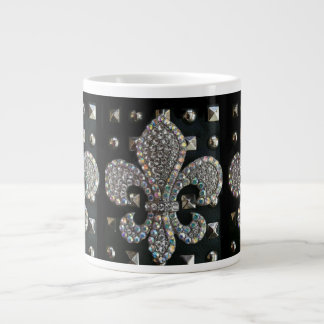 CRYSTAL FLEUR DE LIS ON STUDDED BLACK BACKGROUND LARGE COFFEE MUG