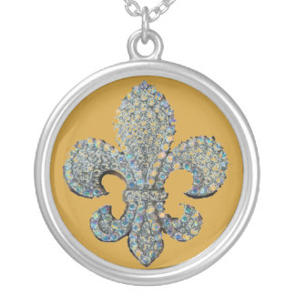 CRYSTAL FLEUR DE LIS PRINT SILVER PLATED NECKLACE