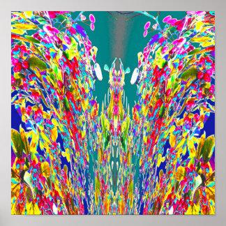 Crystal flower digital Energy flow  Reiki Master Poster