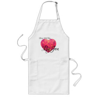 Crystal GeoHeart with sunset color and Custom Text Long Apron
