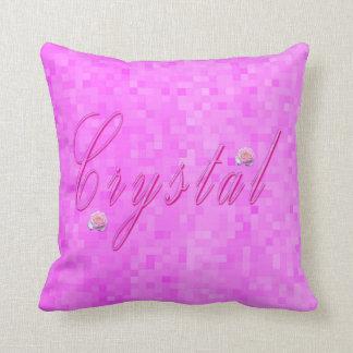 Crystal Girls Name Logo, Throw Pillow