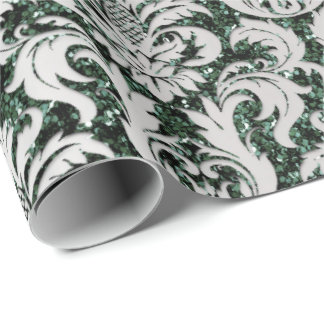 Crystal Glitter Cali Green Gray Silver Damask Wrapping Paper