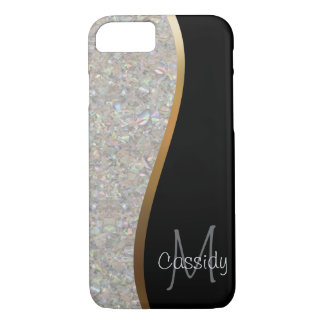 Crystal Glitter Rock, Gold and Black Swirl iPhone 7 Case