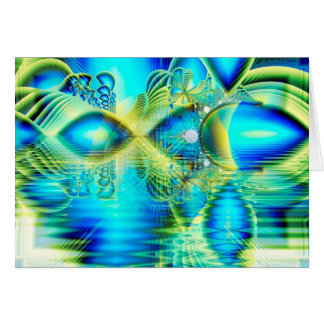 Crystal Lime Turquoise Heart of Love, Abstract Card