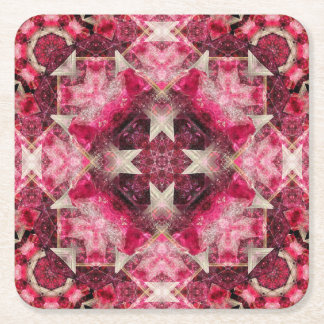 Crystal Matrix Mandala Square Paper Coaster