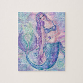 Crystal mermaid art pizzle by Renee Lavoie Jigsaw Puzzle