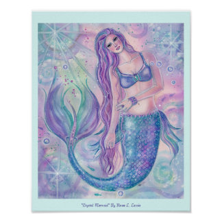 Crystal mermaid art poster print by Renee Lavoie