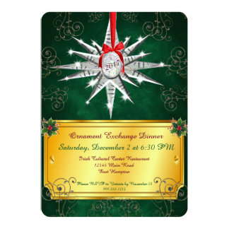 Crystal Ornament Christmas Dinner Invitation