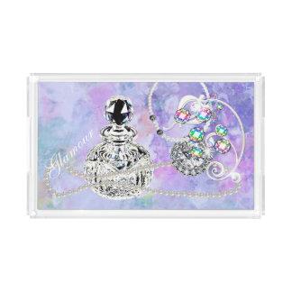 Crystal Perfume & Pearls Purple Watercolor Fantasy Serving Tray