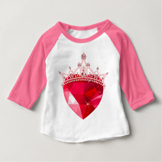 Crystal Pink Heart with Crown Baby T-Shirt