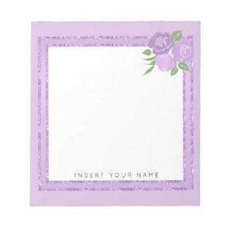 "Crystal Purple and Roses Notepad 5.5"" x 6"""